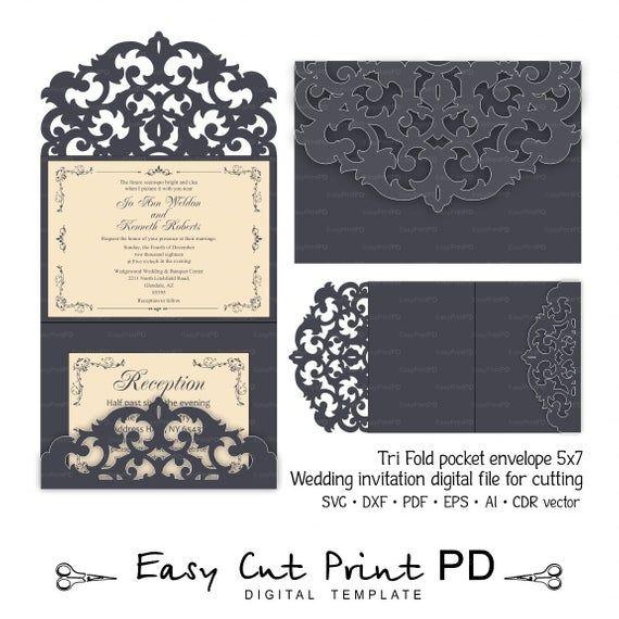 Tri Fold Pocket Envelope 5x7 Invitation Wedding Card Template Etsy Cricut Invitations Cricut Wedding Invitations Wedding Cards