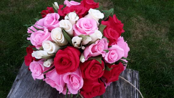 RED PINK Wedding Bouquet High Quality Crepe Paper by moniaflowers
