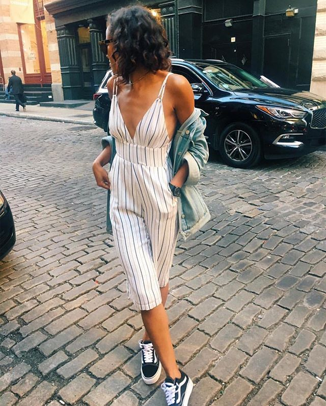 Striped jumpsuits are a city fav #NCBABE @ adoseofsam_   Necessary Clothing
