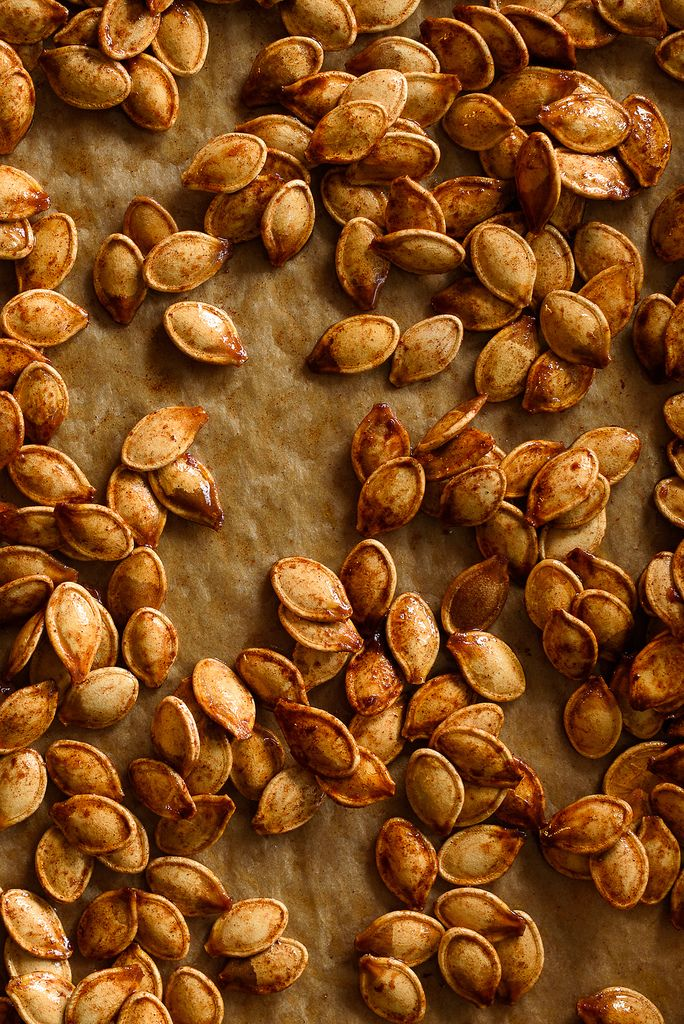 Sweet and Salty Roasted Brown Sugar Pumpkin Seeds via forkknifeswoon.com