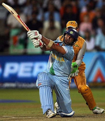 https://flic.kr/p/6whkD5 | Indian cricket team batsman Yuvraj Singh | Indian cricket team batsman Yuvraj Singh lofts a ball for a sixer against Australia during the second semi-final of the ICC World Twenty20 at the Kingsmead Cricket Stadium in Durban, 22 September 2007. India who won the toss and decided to bat first against Australia is playing on 184-4 in the 20th over. AFP PHOTO / Saeed KHAN (Photo credit should read SAEED KHAN/AFP/Getty Images)