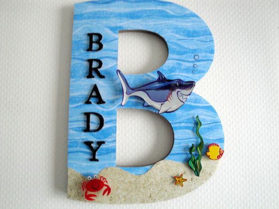 NEW Shark Under the Sea Single Initial Name Plaque, Custom Wall Letter, Nursery Room Decor Tropical Wall Art, Beach Theme, Personalized Gift on Etsy, $24.99