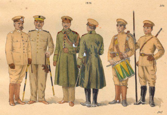 Brazil in the First World War - O Brasil na Primeira Guerra Mundial - ESTAMPA N. 204 - 1916: a) General de Divisão, uniforme de brim; b) General de Brigada, uniforme de flanella; c) Capitão Ajudante de Infantaria, de capote; d) Tenente cie Cavallaria; e) Tambor de Infantaria, uniforme de brim kaki; f) Soldado de Cavallaria, idem