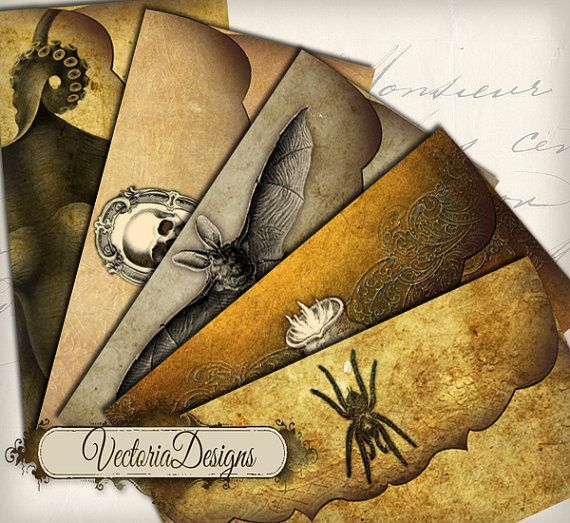 INSTANT DOWNLOAD Halloween Envelopes instant by VectoriaDesigns, $3.30