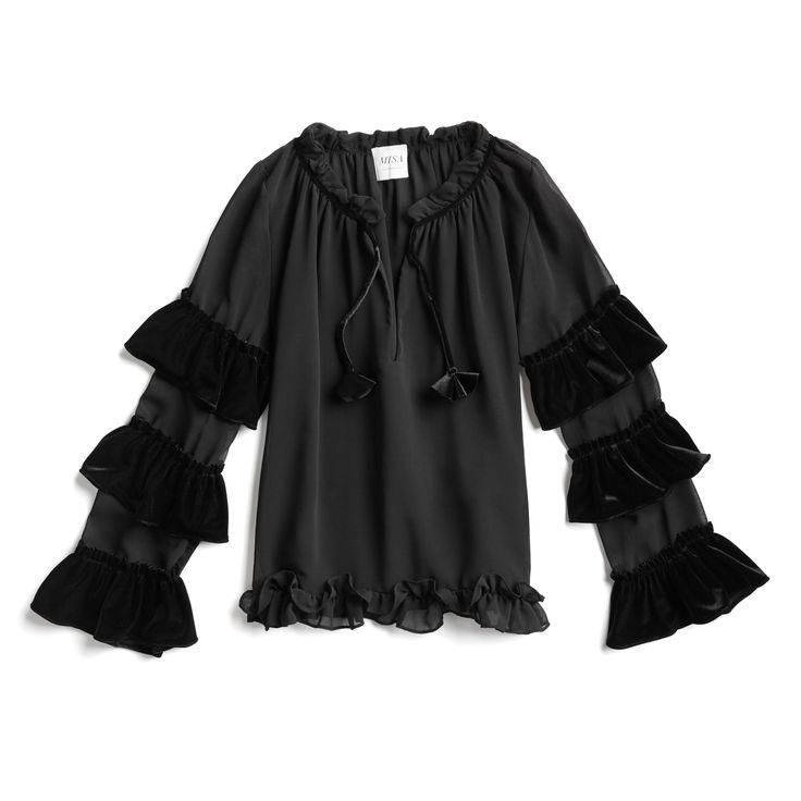 Stitch Fix Fall Stylist Picks: Velvet ruffle sleeve blouse