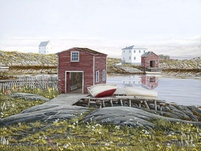 """Wildflowers"" by Norman Bursey Greenspond, NL ...Ship Island in the background (L-R) Wilfred Carter's and Graham White's houses"