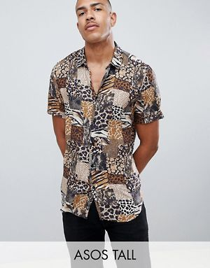 5502c07abaa2 ASOS DESIGN Tall regular fit mix & match animal print shirt in brown ...