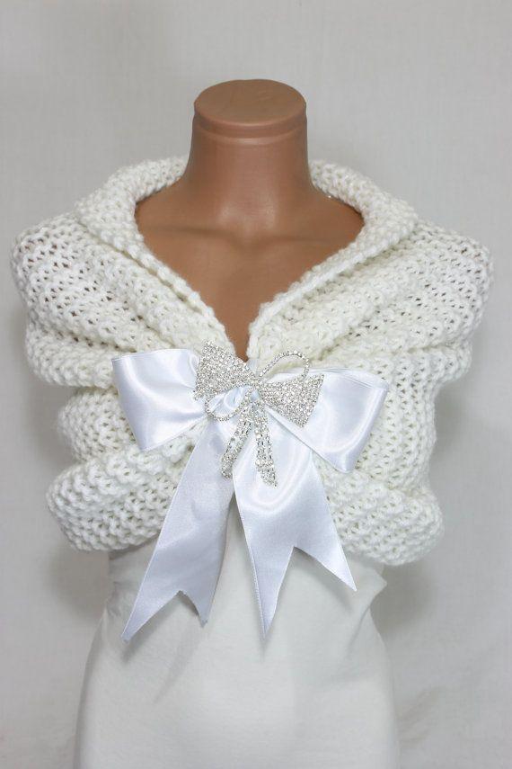 chle de marie blanche etole mariage nuptiale chle chle blanc main tricot - Etole Cachemire Mariage