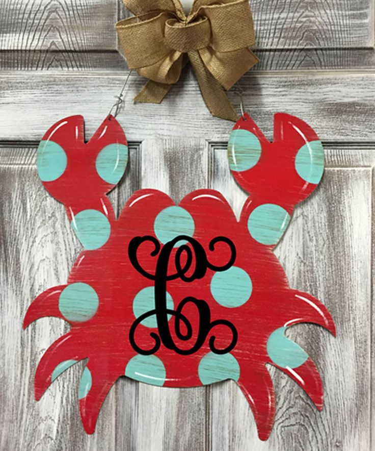 Another great find on #zulily! Red & Blue Initial Crab Door Hanger by Steel Southern Design #zulilyfinds