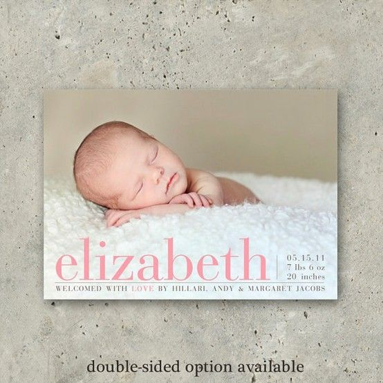 baby girl birth announcement photo card  Printed by minkcards, $64.00 by shauna