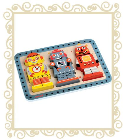 Janod Chunky Robot Wooden Toy Puzzle. A chunky wooden 3 dimentional Robot puzzle. Match them up on the tray or mix and match them out of the tray. 9 chunky pieces, great for little hands. All Janod toys are designed in France and manufactured to strict quality and safety standards, meeting both European and Australian requirements. Age Range: 18 months + Dimensions: 30cm x 2.5cm x 21cm  $29.95