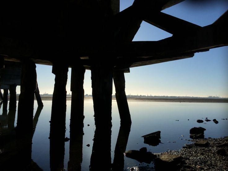 Early morning winter bike ride on Hawkes Bay cycle trails. Ahuriri estuary, Napier, Hawkes Bay, New Zealand
