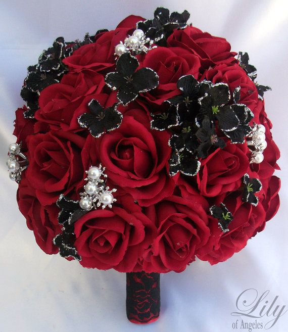 2 pieces wedding bridal bride bouquet groom boutonniere gem jewelry jewel red black lily of angeles rebk07