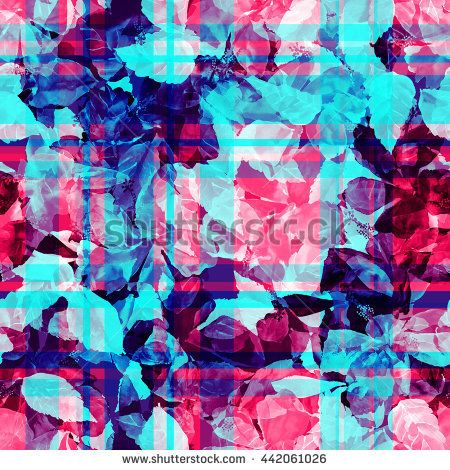Blue red foliage seamless pattern. Watercolor painting leaves background with layering effect on a checkered background.