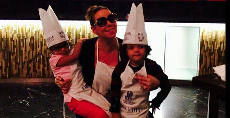 Mariah Carey faz pizza com os filhos gêmeos