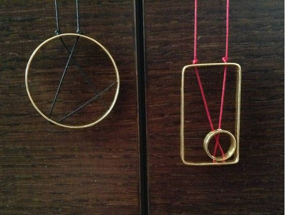 24K Gold plated brass the Circle and the Square by PlusLoveStudio - 22,00euro