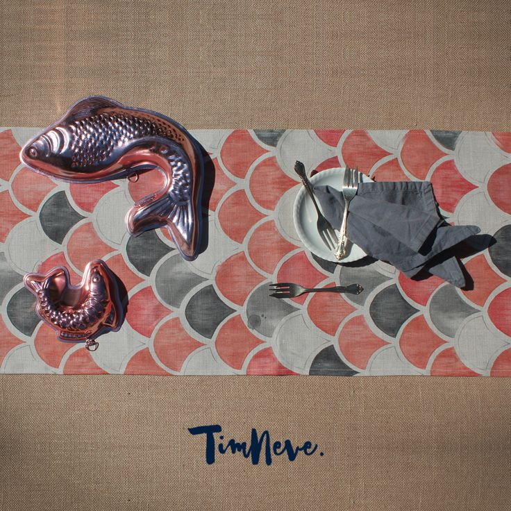 'Mermania' Table Runners: Introducing stylist Tim Neve's debut linen tableware designs.