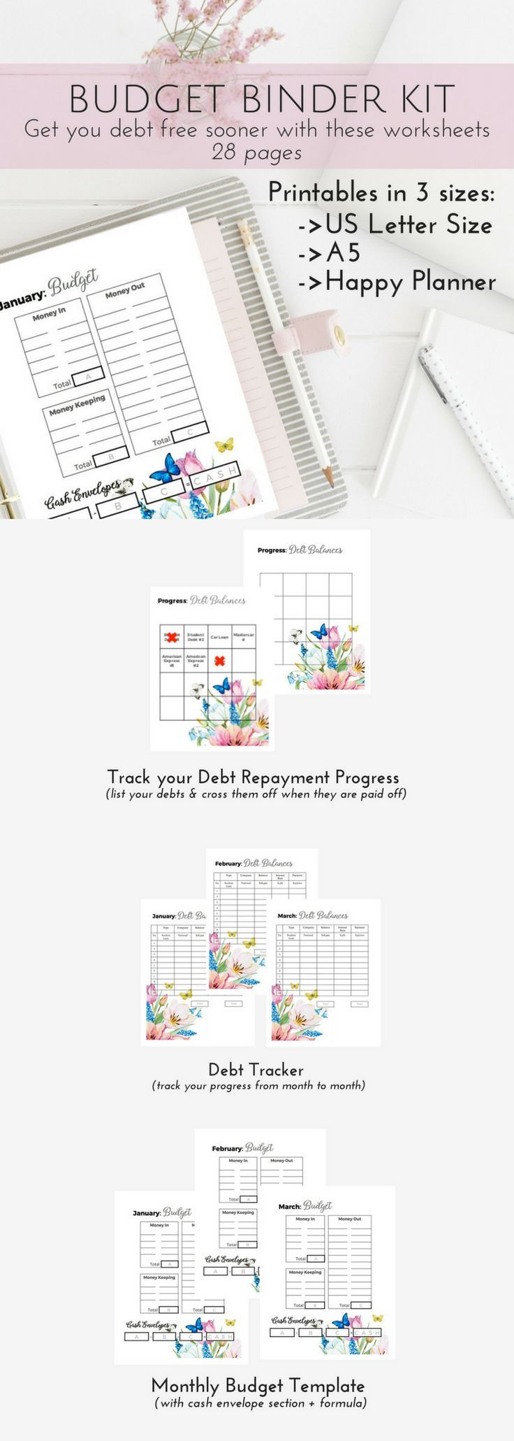 If you are following Dave Ramsey's Baby Steps, this printable debt planner has great printable monthly budget templates to track your debt snowball as well as implement the cash envelope system! Get started on the right track with these beautifully design