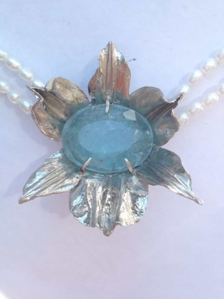 White Gold, Aquamarine and Pearl Choker. Wedding Neckpiece, I just finished helping a client make this for her August Wedding! Cutting it a little close! www.organicmetalgallery.com