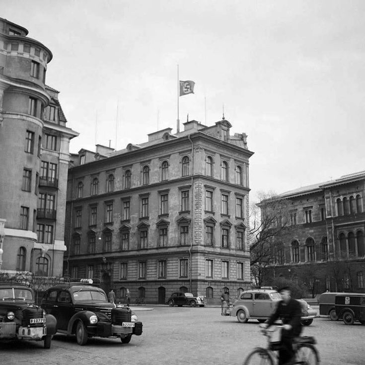 The German embassy in Sweden flying the flag at half mast the day Hitler died (April 30th 1945).