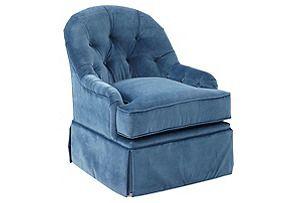 Marlowe旋转椅,孔雀天鹅绒*