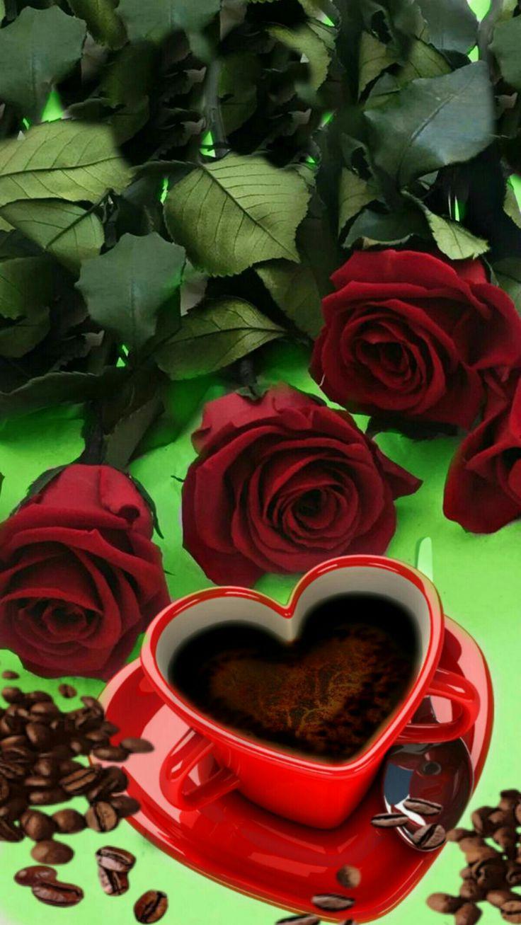 Открытка с добрым утром розы и кофе, открытка стену открытки