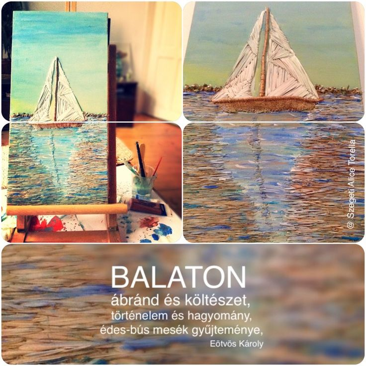 I would like to share with you my first work of art about Balaton. What makes the biggest Hungarian Lake special? In any cases the dance of the colors that are reflected on water. Balaton is the place, where silence have a special sound, and where the blue-green hugs you with love.  BALATON: Painted with bulrush and acrylic paint, on 50x20cm canvas. #ecoart #organicart #craft #balaton  #green