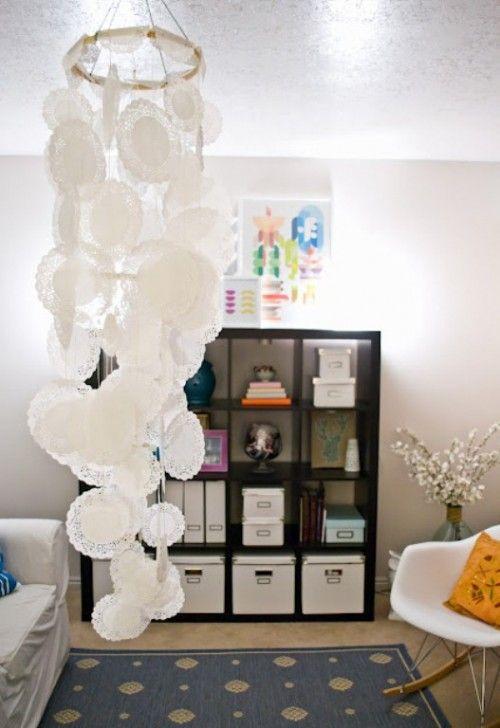 Cute DIY doily chandelier