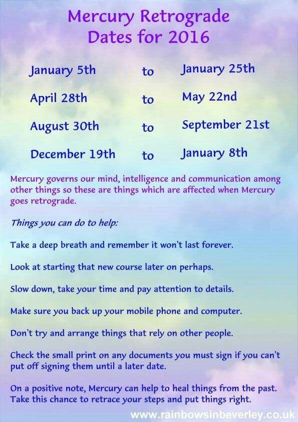 2016 dates for Mercury going retrograde. ;)