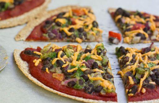 High Protein Tortilla Pizzas With Tortillas, Black Beans, Sauce, Fresh Parsley, Purple Onion, Bell Pepper, Avocado, Kosher Salt, Pizza Sauce, Daiya, Non Dairy Cheese