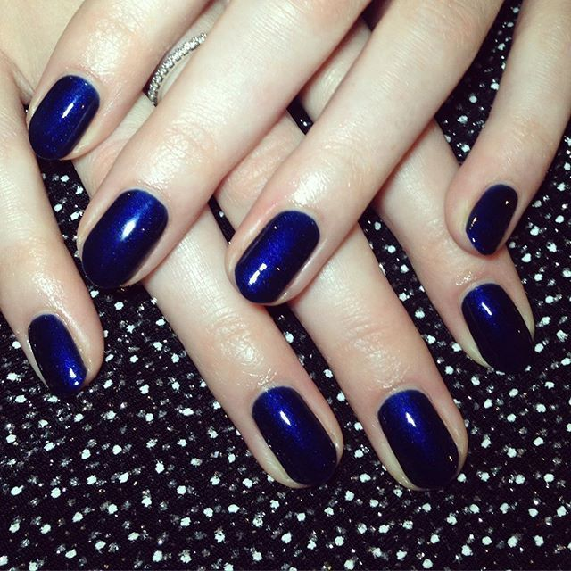 Nails by me using Bio Sculpture gel in Pursuit of Beauty - a midnight, navy blue with a slight shimmer.