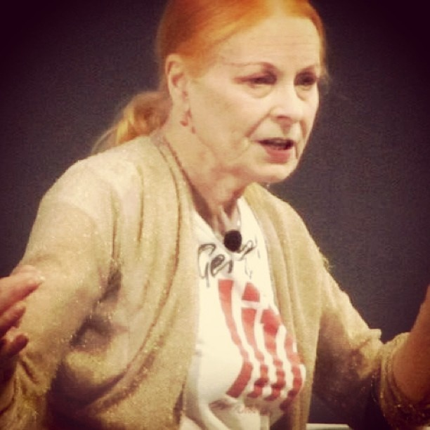 Vivienne Westwood giving her seminar 'Stories are more than a narrative. And fashion is more than design'. Via @Fábrica de Comunicação #canneslions