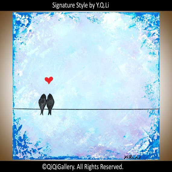 Valentines sale Blue Abstract oil Painting love by QiQiGallery