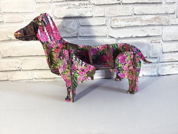 Dachshund dog cool pink fucsia floral Gift for by bottegadicartone