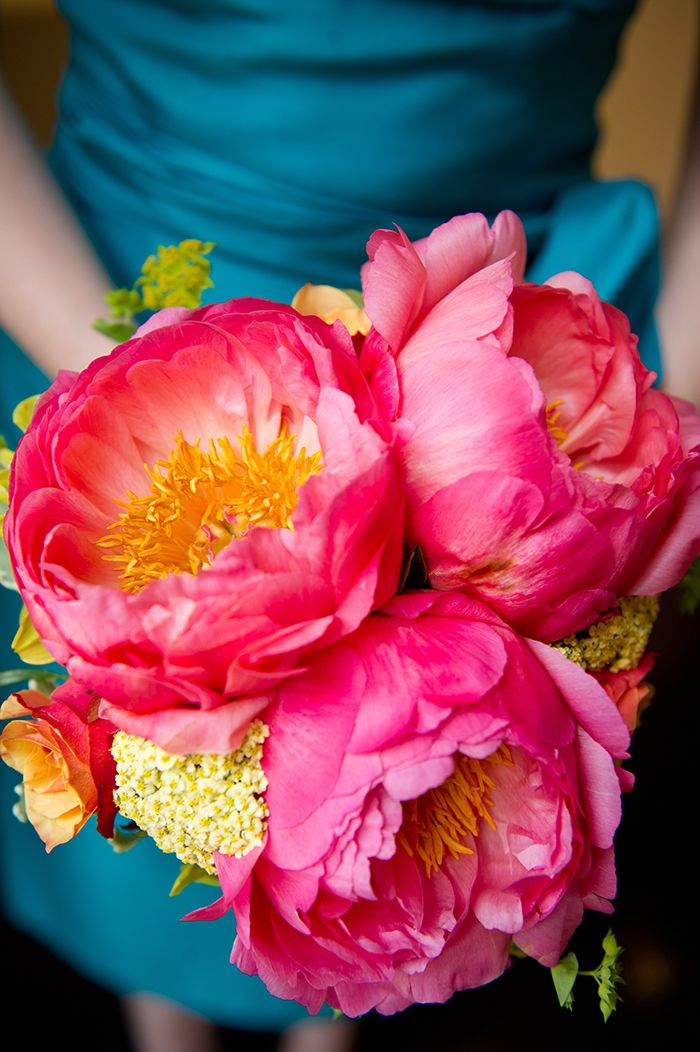 hot pink huge bloom bouquet by Long Stems Florist // Images by Ashley Therese Photography