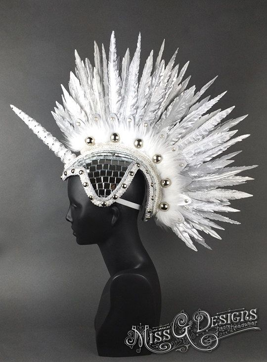 Unicorn Feather Mohawk FAUX FEATHERS by MissGDesignsShop on Etsy