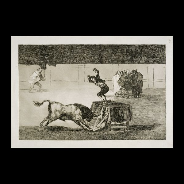 Francisco José de Goya y Lucientes - Otra locura suya en la misma plaza, an etching - 'Another madness of his in the same ring', plate 19 from the series Tauromaquia - etched 1815, first published 1816