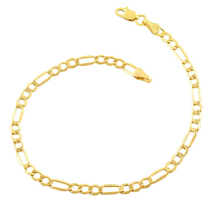 9ae377c17 10k Yellow Gold 3.5-millimeter Figaro Bracelet (7.5-8.5 inches) (Size: 7.5  inch - Size: 7.5 inch), Men's, Fremada | Products in 2019 | Jewelry, Mens  gold ...