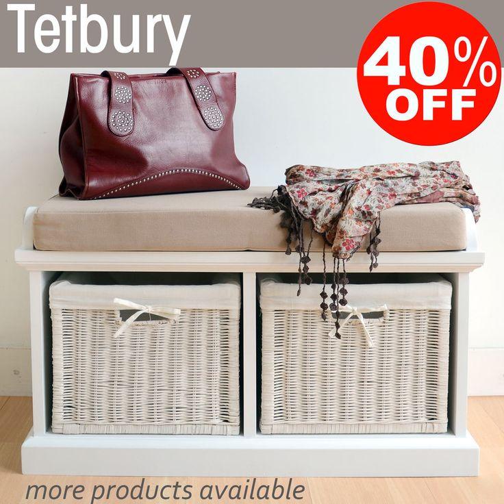 Tetbury Hallway Bench With Storage Baskets Wicker