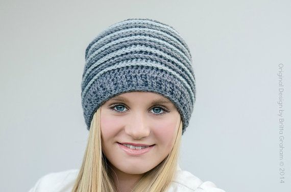 Knitting Pattern Hat Dk : crochet hat pattern unisex ribbed beanie P306 using Double ...