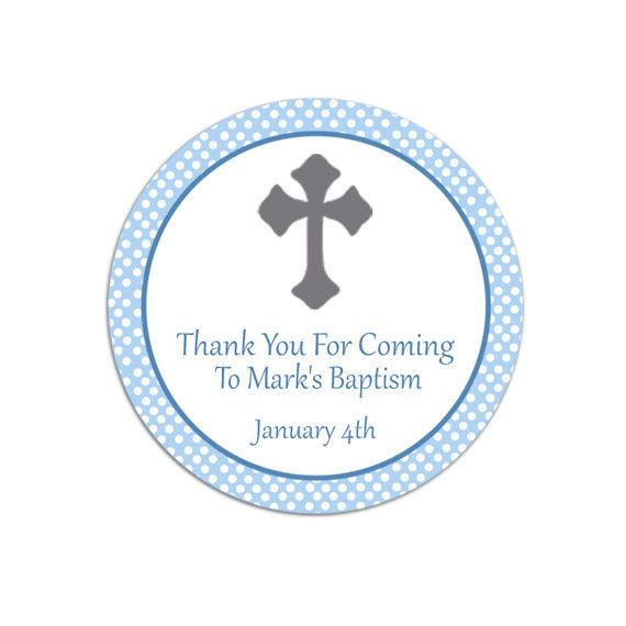 Printable Personalized Blue Polka Dots Christening Thank You Tag - Custom Holy Communion Party Favors Christening Party Favors Party Tags