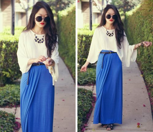The glasses are honestly kinda ridiculous, but I love the long skirt with the flowing top.