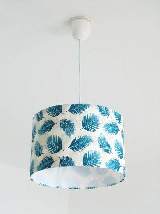 Lustre suspension plafonnier feuilles bleues palmier exotique tropical- abat jour cylindrique - rond 28cm cylindre + fil