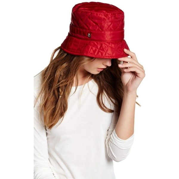 San Diego Hat Company Quilted Bucket Rain Hat (1.620 RUB) ❤ liked on Polyvore featuring accessories, hats, red, bucket hats, red bucket hat, snap hat, bucket rain hat and red hat