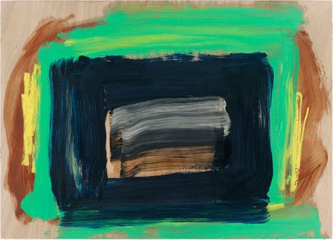 Howard Hodgkin, The Rains Came, 2014, oil on wood, 28 1/8 × 37 1/2 inches on ArtStack #howard-hodgkin #art