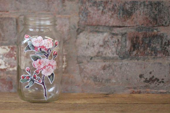 DIY: Easy Peasy Decoupage Jar http://blog.freepeople.com/2012/12/diy-easy-peasy-decoupage-jar/