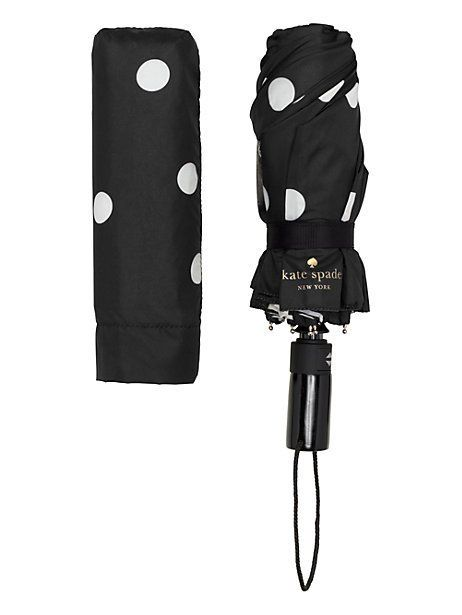 black and cream deco dot travel umbrella, black