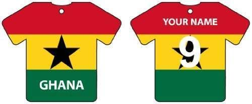 PERSONALIZED GHANA FLAG JERSEY CAR AIR FRESHENER