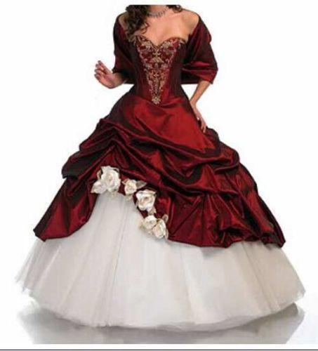 2015 Weiß+Rot Exclusives Abendkleid Brautkleid Ballkleid Brauch Hochzeitskleid | eBay