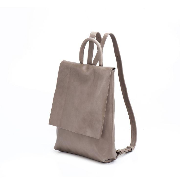 Man leather bag , Taupe man leather backpack nude , laptop backpack, authentic designer handbags, Leather Laptop Backpack - Big Ari